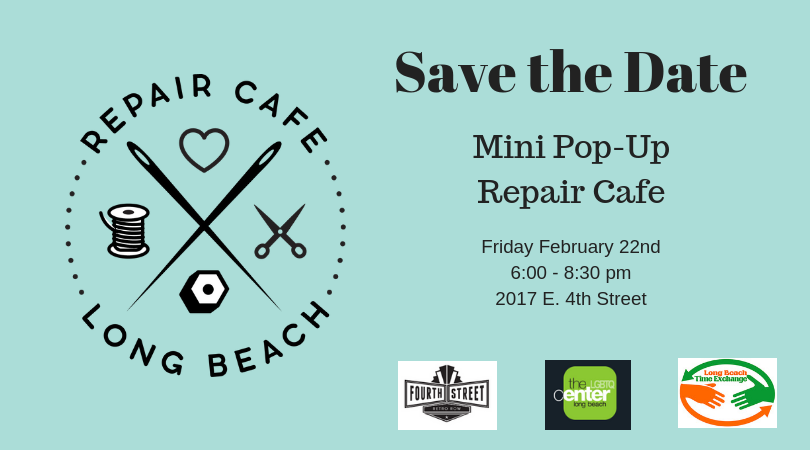 Pop-up Repair Cafe Feb 2019 - Save the Date